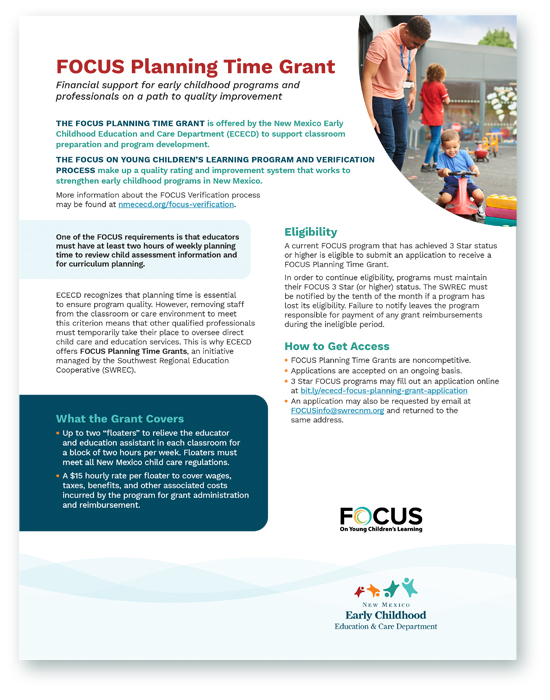 FOCUS Planning Time Grant flyer