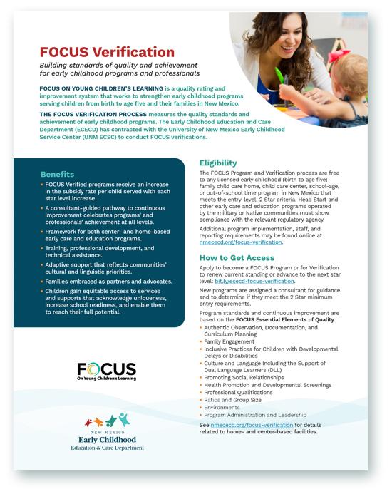 FOCUS Verifcation program flyer