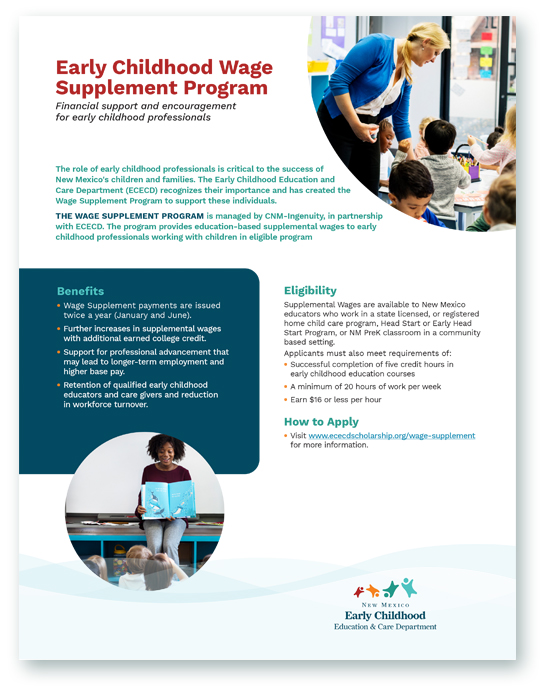 Early Childhood Scholarship flyer